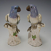 Antique Italian Ginori Capodimonte Porcelain Bird Parakeet Lovebird Figurines PAIR