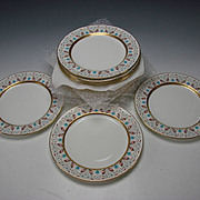 Antique Minton China Enamel Gilt Porcelain Dinner Plate SET of 12
