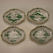 Antique Meissen Green Indian Painting German Porcelain Salt Dish Dip SET of 4