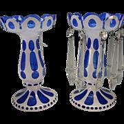 Antique c1910 Bohemian Cased Cut Glass Mantle Lusters White Enamel on Blue