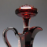 Fantastic American Boston Sandwich or Bohemian Ruby Cut Glass Decanter
