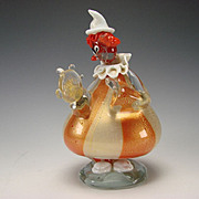 Vintage Alfredo Barbini Murano Gold Flecked Art Glass Clown Figurine Sculpture