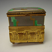 Art Deco French Porcelain China Jewelry and Wind Up Music Box