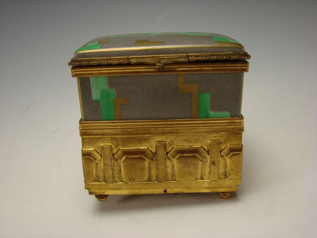 Art Deco French Porcelain Jewelry And Wind Up Music Box