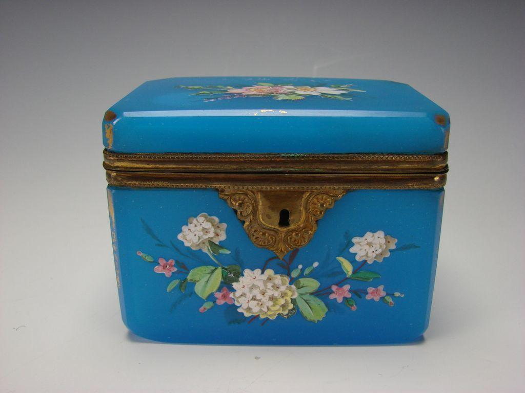 Antique French Blue Opaline Gilt and Enamel Glass Jewelry Casket or Sugar Box