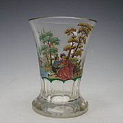 Antique Bohemian Stained Enamel and Cut Glass Beaker Vase