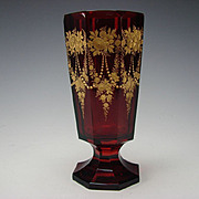Antique Moser Bohemian Parcel Gilt Engraved Ruby Glass Vase