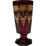 Antique Moser Bohemian Parcel Gilt Engraved Ruby Glass Vase
