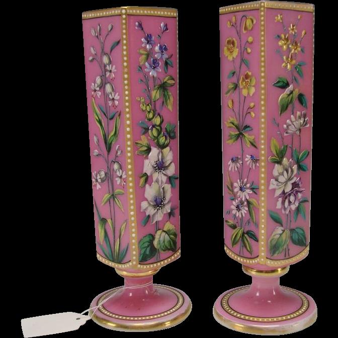Great Bohemian Harrach Pink Opaline Cased Enameled Glass ... Opaline Ruffled Glass Pink Vase