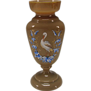 Antique Bohemian Glass Elegant Enameled Egret Tan Opaline Vase