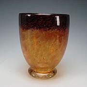 Antique Signed Czech Fine Glass Vase Art Deco era LARGE