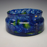 Art Deco Czech Cobalt Yellow Mottled Glass Low Vase or Bowl