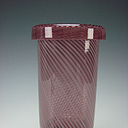 Vintage Italian Fine Modern Caned Latticino in Rolled Rim Amethyst Glass Vase