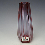 Vintage Moser Signed Cut Faceted Alexandrite Glass Vase