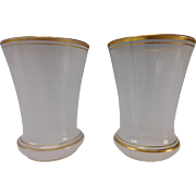 Antique Pair of Gilt Opaline French Glass Tumblers/Beakers