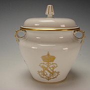Antique Sevres Porcelain Napoleon III Armorial Gold on White Table Service Sugar Bowl
