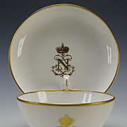 Antique Sevres Porcelain Tea Cup Saucer Underplate Napoleon III Crest