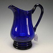Antique Cobalt Blue English Regency or Early Victorian Glass Pitcher Jug