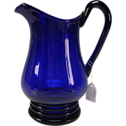Antique Cobalt Blue Pittsburgh Early American Federal Era Glass Pitcher Jug