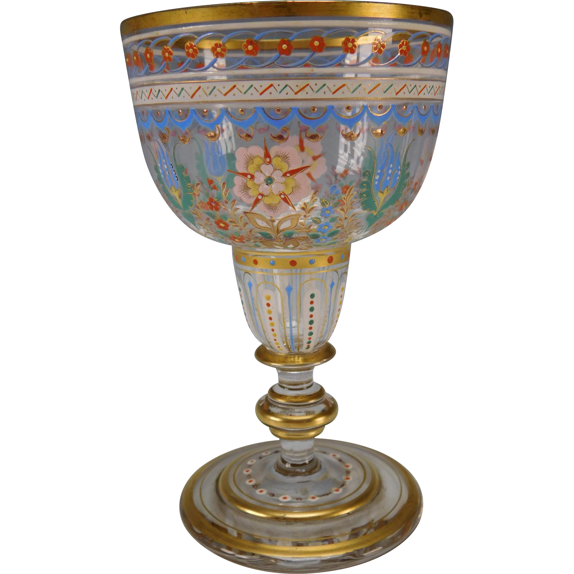 Amazing Bohemian Enamel Painted Wine Glass Stem C1900 From