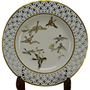 Antique Sevres Porcelain Reticulated Plate and Japanese Satsuma Artist Marks Signed Dated