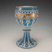 Antique Moser Bohemian Moorish Blue Opaline Cased Enamel Overlay Glass Vase