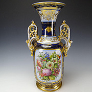 c1850 Antique OLD Paris Hand Painted Flower Bouquet Porcelain Vase 19 1/2""