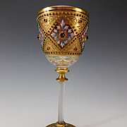 BEST Antique Moser Jeweled Enamel Persian Decorated Cranberry Glass Wine Stem