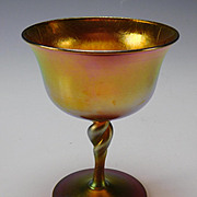 Antique Steuben Aurene Signed Iridescent Wine Glass Stem
