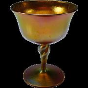 Steuben Aurene Signed Fabulous Iridescent Glass Wine Sherbet Stem