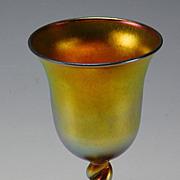 Art Nouveau Iridescent Steuben Aurene Twisted Stem Wine Glass