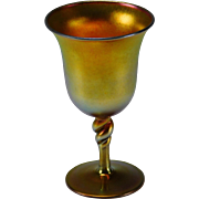 Art Nouveau Iridescent Steuben Aurene Twisted Stem Wine Glass