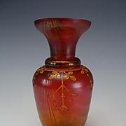 Antique Kralik Iridescent Drape Peacock Feather Glass Vase Enameled