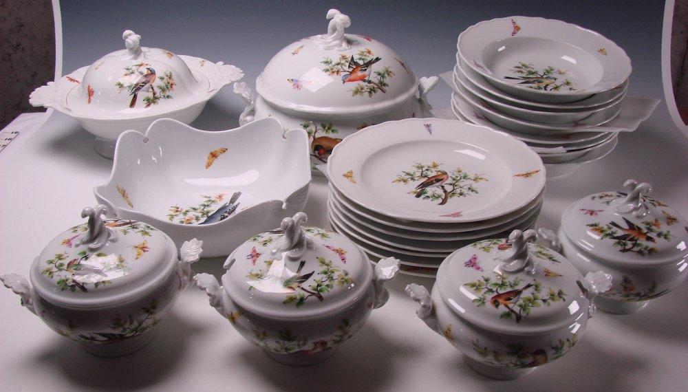 Antique 19c Meissen Hand Painted Rothschild Porcelain Birds Butterflies SET of Plates/Bowls Tureens
