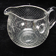 Antique Boston Sandwich Snowflake Salesman Glass Creamer
