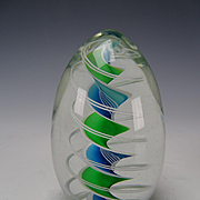 Fine Charles Wright 1996 Dated Artist Signed Ribbon Latticino Paperweight