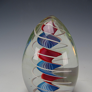Fine Signed Dated Charles Wright Latticino Ribbon Glass Paperweight