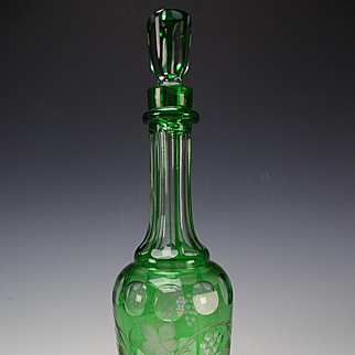 Antique 19c Punty and Engraved Panel Green Overlay Glass Decanter