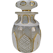 Antique c1850s Cased Bohemian Overlay Cut Glass Bottle