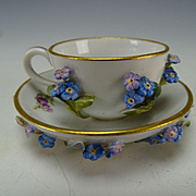 RARE Antique Miniature Meissen Applied Flower Encrusted Cup Saucer Dolls