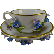 RARE Antique Miniature Meissen Applied Flower Encrusted Cup Saucer Dolls