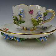 Antique 19c Meissen Floral Encrusted Elegant Cup and Saucer Scarce Example