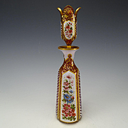 Antique Harrach Moser Gothic Cut White Enamel Cased Overlay to Cranberry Glass Bottle