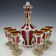 Antique Bohemian Moser Josephinenhutte Enamel Overlay Triple Cut Glass Decanter and 6 Stems