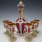 Antique Bohemian Moser Josephinenhutte Enamel Overlay Triple Cut Glass Decanter and 6 Stems