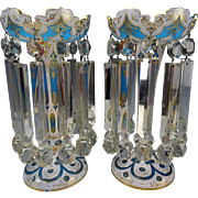 Antique Moser Bohemian Blue Opaline Glass Mantle Lusters Prisms