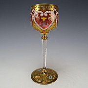 RARE Moser Cranberry Gilt Raised Enamel Air Twist Stem Persian Market