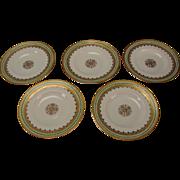 Antique c1900 GDA Haviland Limoges French China Porcelain Holly Berry Gilt Side Plates Set of 5