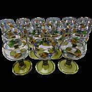 18 Vintage Bohemian Czech Glass Roemers Wine Stems