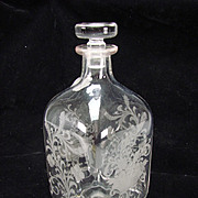 Vintage Engraved Cut Glass Bottle Decanter Cornucopia Flower Basket Garlands